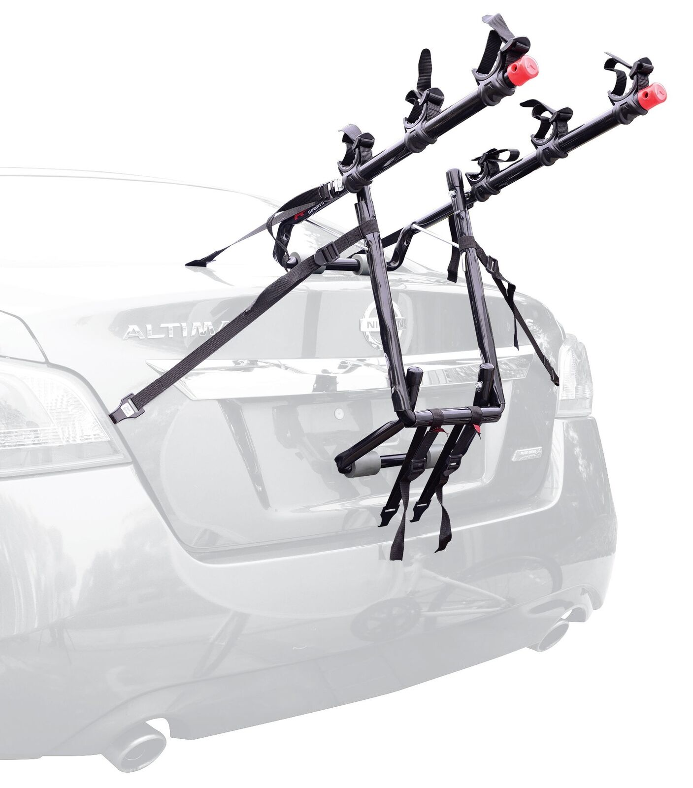 Deluxe Trunk Mounted 3 Bike Race Padded Lower Frame Side Straps Tie Down System