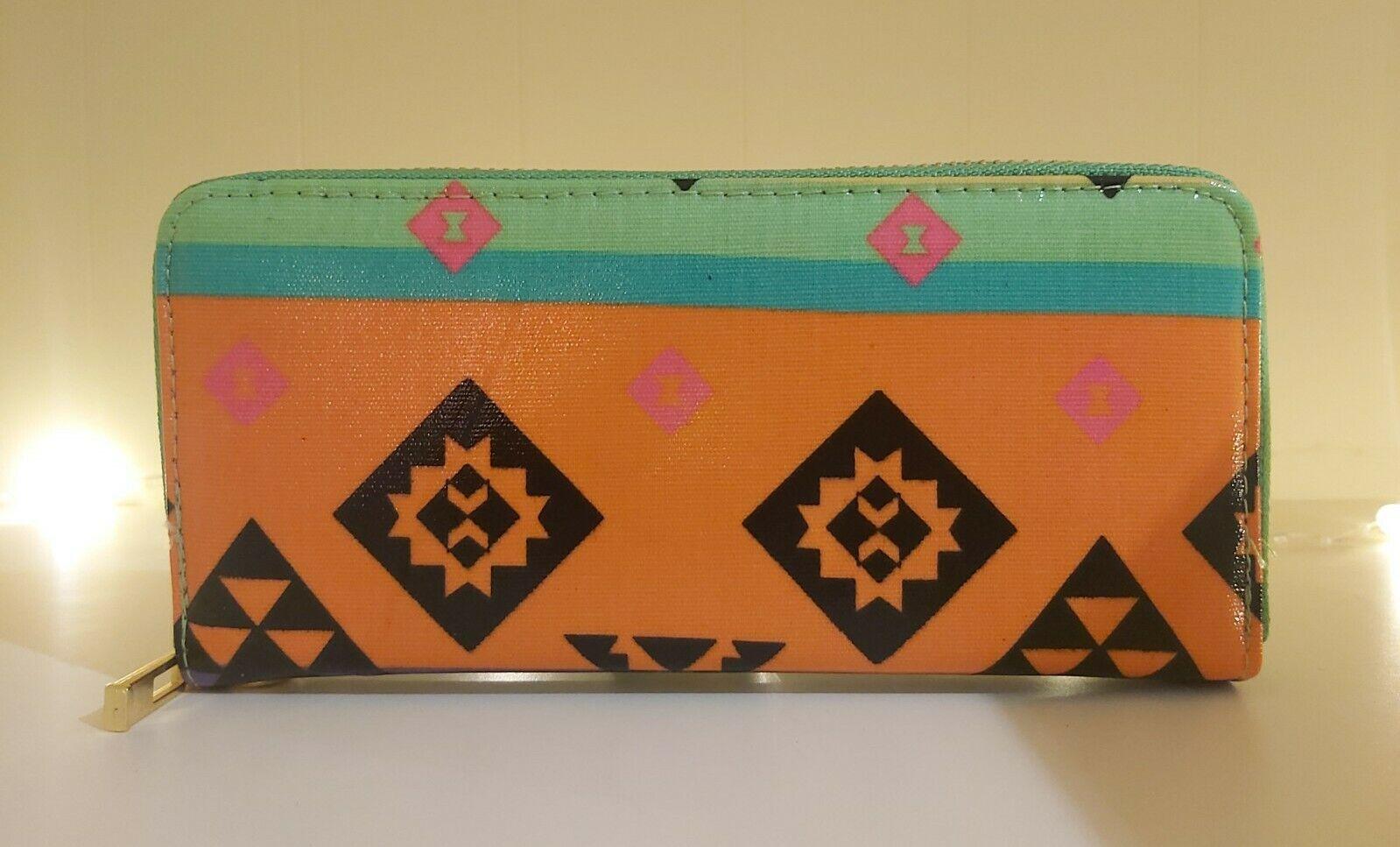New Womens Long Purse Girls Tribal Print Wallet Ladies Oilcloth Coin Purse Aztec