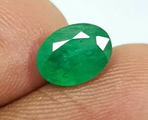 1.40 Ct Natural Oval Cut 8X6 MM Green Emerald Zambia Untreated Excellent Quality