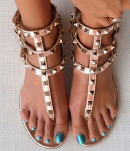 Rose Gold Studded Strappy Open Toe Gladiator Sandals Us 5