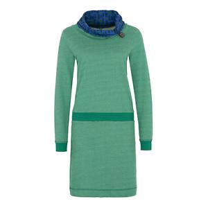 Tranquillo Biobaumwolle Kleid Macarena green Schal Schalkragen mit mit mit Knopf w17e5 5fc7e5