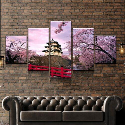 Cherry Blossom Japan Castle 5 panel canvas Wall Art Home Decor Poster Print