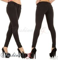 Ladies Womens Jeans Skinny Black Slim Fit Stretch Denim Pants UK Size 8 10 12 14