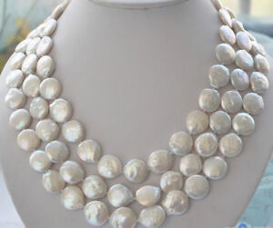 "Beautiful 11-13mm White Coin Pearl 60/"" Long Necklace"