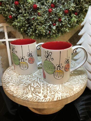 inHomestylez Raised CHRISTMAS ORNAMENTS Classic Design SET of 2 MUGS 2 MUG SET