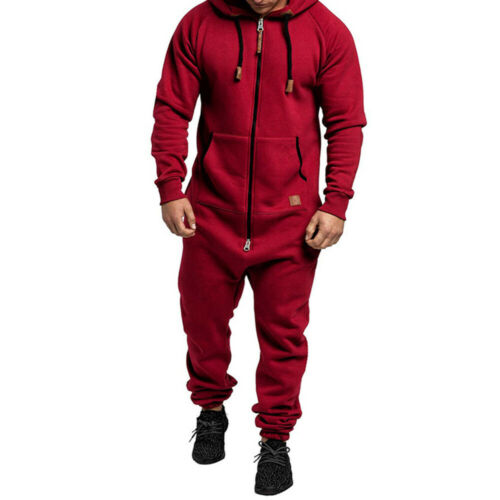 MEN/'S ALL IN ONE WINTER SUPER WARM ZIP UP JUMPSUITS HOODED PLAYSUIT TROUSERS USA