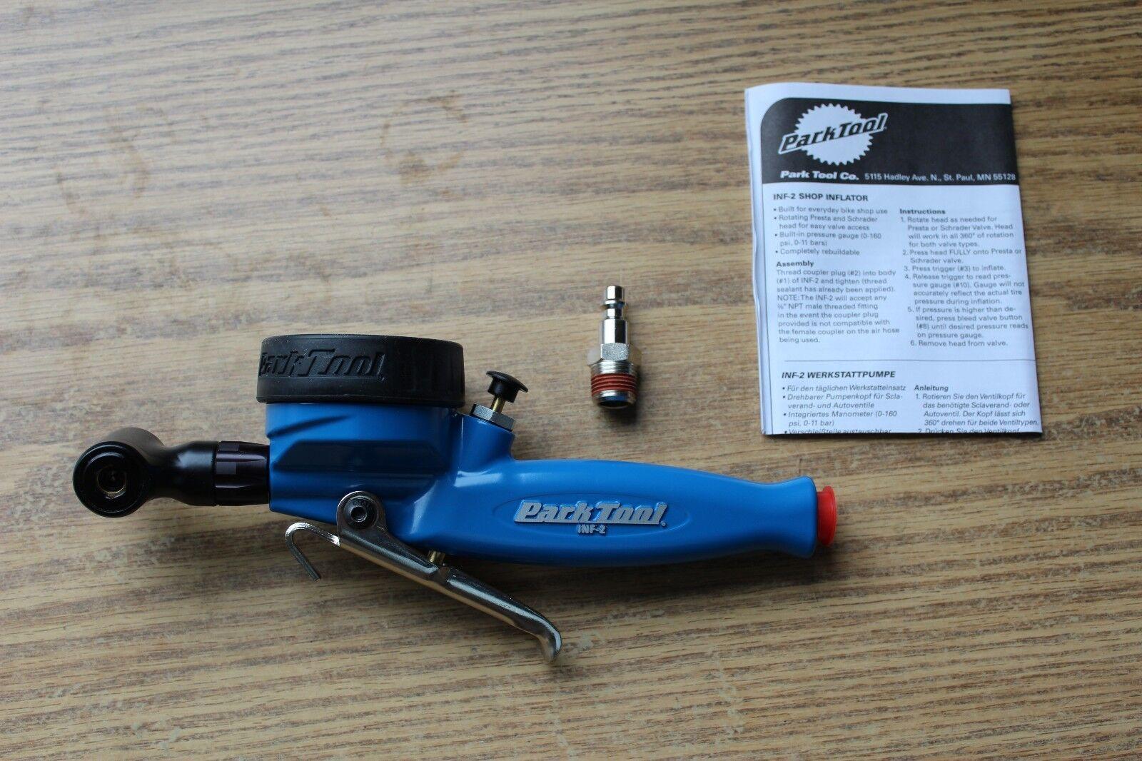 Park Tool INF-2 Tire Inflator Schrader & Presta w Pressure Gauge Bike BLEMISHED