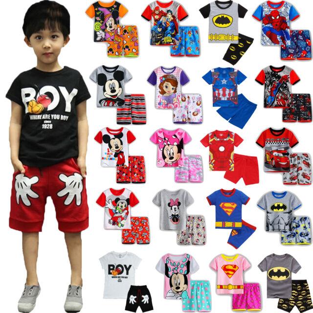 Kids Boys Girls Pajamas Sleepwear Loungewear Nightwear Pyjamas Pjs Set Outfits