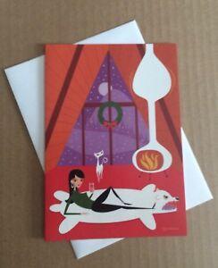 SHAG Josh Agle PINK Scooter Girl WHITE CAT MOON CHRISTMAS XMAS 2014 holiday card