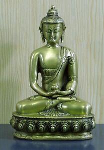 BUDDHA-Figur-Statue-Skulptur-FENG-SHUI-sitzend-betend-Almosentopf-H-20cm-Messing