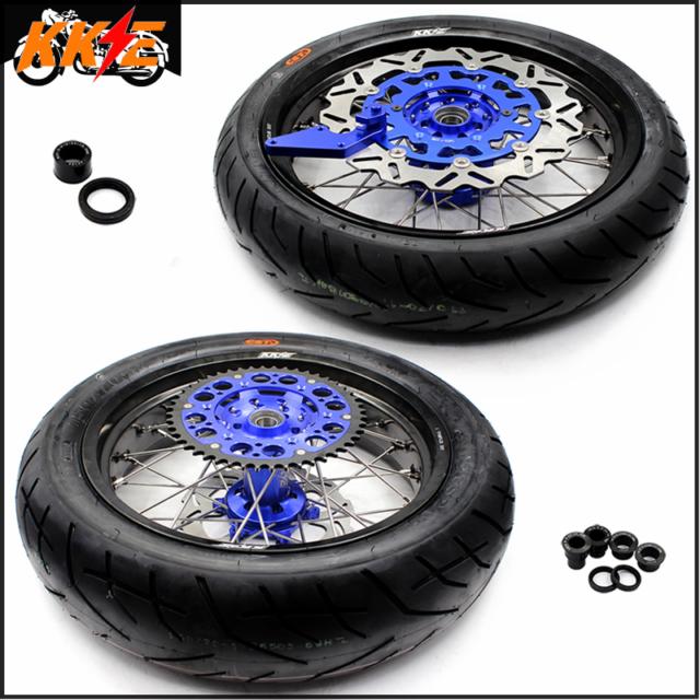 KKE 3.5/4.25 Cush Supermoto Wheels Sets For Yamaha WR250F WR450F 2003-2018 Tires