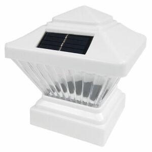 Set for 1,2,4,6,8,12 Plastic Off White Square Post Fence Mount 5x5 Solar Light