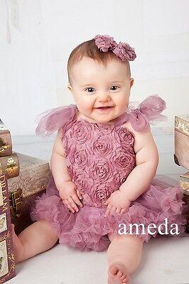 Baby Dusty Pink Rosettes Bodysuit Romper Pettiskirt Tutu Blossom Party Dress