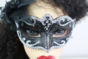Fancy-Dress-Mask-Masquerade-Ball-Mask-Silver-amp-Black-Stag-Hen-Party-Balls