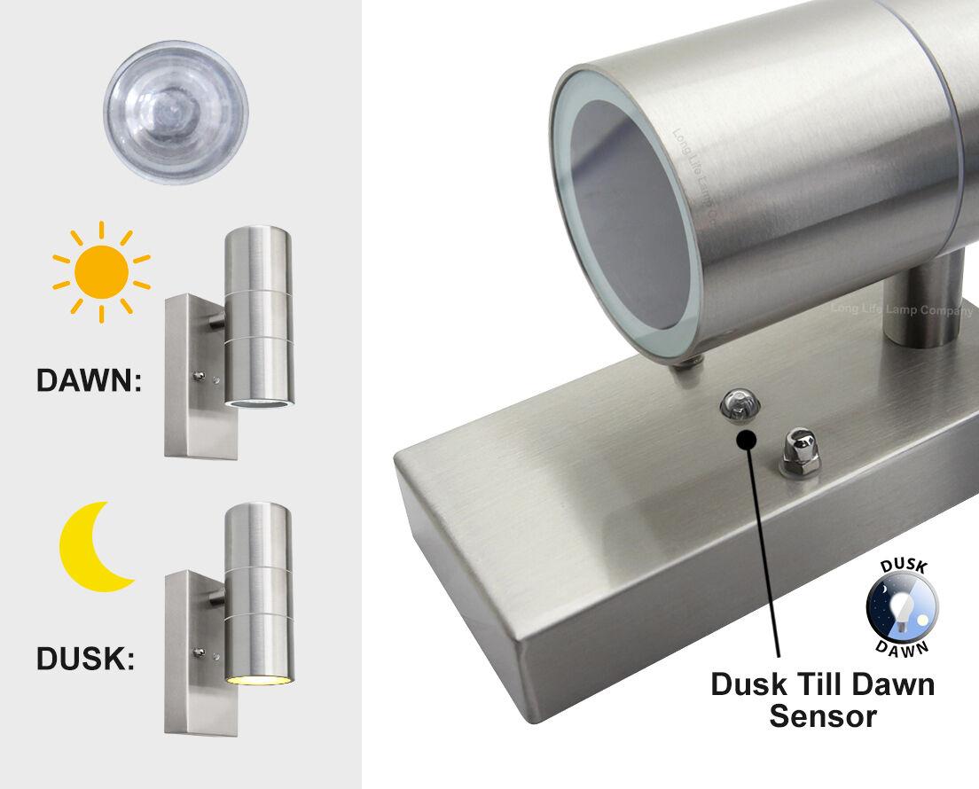 dusk till dawn sensor outdoor up down wall light stainless. Black Bedroom Furniture Sets. Home Design Ideas
