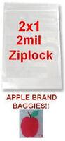 5000 Apple Brand 2010 2x1 2mil Clear Ziplock Bags 5,000 Baggies 2x1 2.0x1.0
