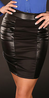 NEW SEXY LEATHER LOOK MINI SKIRT BLACK 8 10 12 PARTY/CLUB/CASUAL WOMENS/LADIES