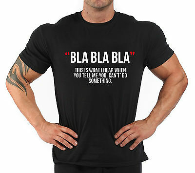 """T-Shirt Bodybuilding Fitness Palestra """"Blablabla..."""""""
