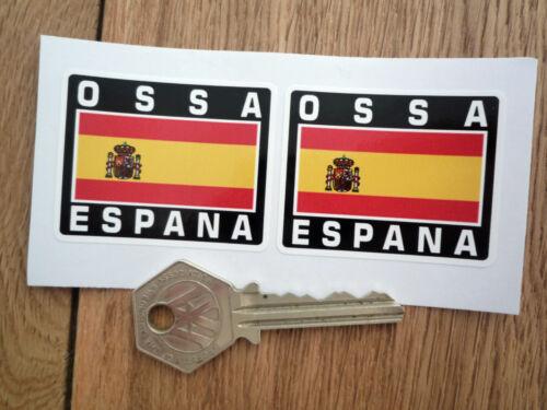 OSSA ESPANA Spanish Flag Style Stickers 50mm Pair Spain Motorcycle Helmet Bike