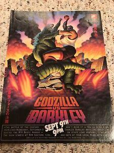 Vintage-1992-NIKE-CHARLES-BARKLEY-vs-GODZILLA-Launch-Poster-Print-Ad-OG-RARE