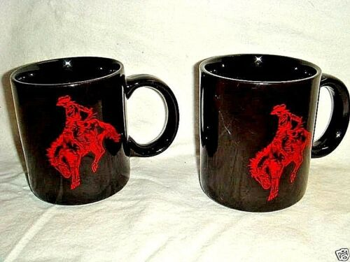 2 Retro Black & Red Ceramic Mugs MARLBORO MAN on BUCKING HORSE