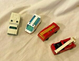 Vintage-MATCHBOX-c-1971-81-SERVICE-RESCUE-VEHICLES-Lot-of-4-SUPERFAST-LESNEY-CO