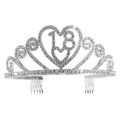 SILVER Diamond Crystal 18th Compleanno Tiara Crystal Tiara Corona Principessa Compleanno