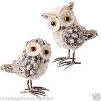 3429136 Raz Owl Set/2 Christmas Table Figure Decoration Barn Great Horned White