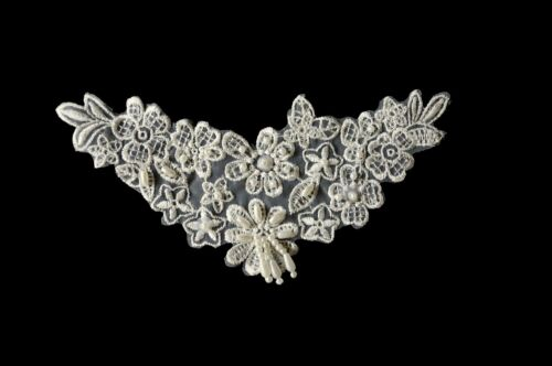 """Lily 6/""""x3/"""" White Black Ivory Beaded Organza Lace Bridal Applique Patch by Piece"""