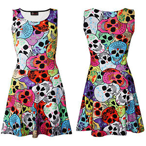 Ladies-Cute-Gothic-Multi-Sugar-Candy-Skulls-Web-Sleeveless-Skater-Flared-Dress