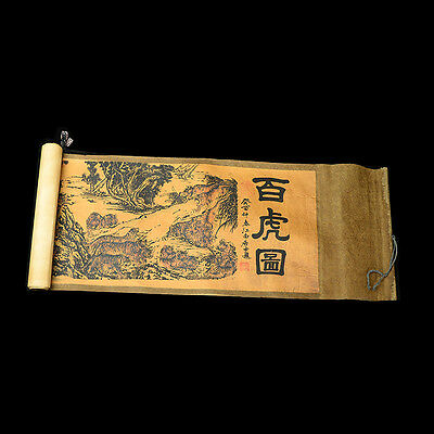 Collection of Chinese scroll painting on silk:White tiger figure gd0470