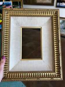 Custom-Made-Frame-Holds-4-1-2-034-X-7-Gold-Double-Tier-Overall-14-1-2-034-X-12-034-Linen