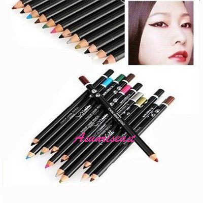 Hot 12 Colors Eyeshadow Eyeliner Lip Liner Pencil Cosmetic Makeup Set