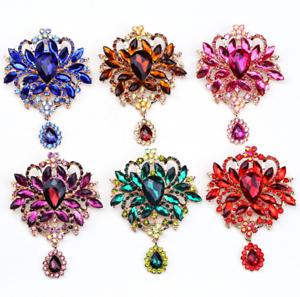 Betsey-Johnson-Big-Crystal-Rhinestone-Flower-Dangle-Charm-Women-039-s-Brooch-Pin