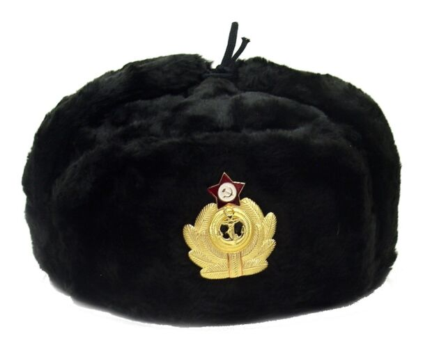 45c0cccb201 Genuine Leather   Sheepskin Russian Naval Officer Winter Hat-ushanka ...