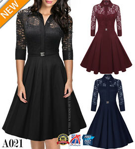 UK-Womens-1950s-Vintage-Style-Retro-Evening-Party-Swing-Classic-Lace-Dress-A021