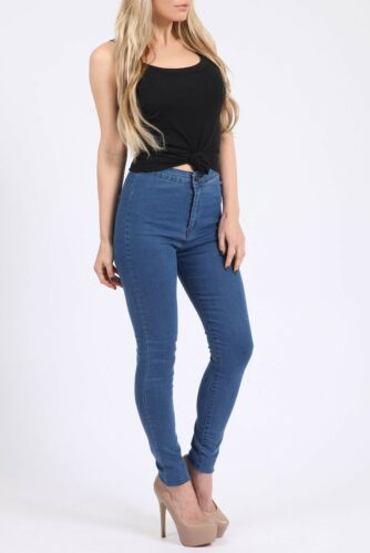 WOMENS HIGH WAISTED STRETCHY SKINNY JEAN 14,16 12 MID WASH SIZE UK 8,10
