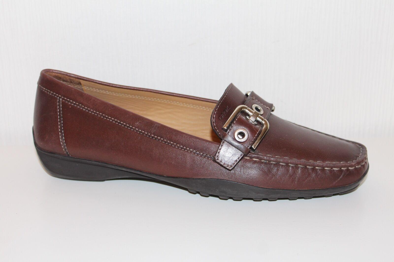 Geox Echt Leder Zapatos señora señora señora loafer Slipper tamaño 39 uk6 mocasines zapatos marrón  el más barato