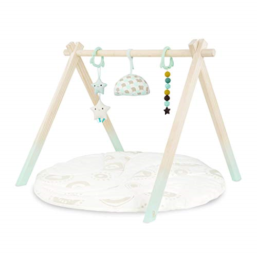 B. Toys – Wooden Baby Play Gym – Activity Mat – Starry Sky – 3 Hanging Sensory –