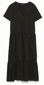 ZARA-WOMAN-NWT-SALE-BLACK-RUFFLED-POPLIN-DRESS-SIZE-S-REF-0387-170-0387-181