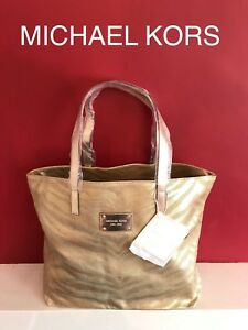 Image Is Loading Michael Kors Silver Gold Tiger Zebra Las Tote