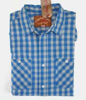 Red Camel - L - - Blue & Gray Gingham Check Long Sleeve Cotton Pocket Shirt