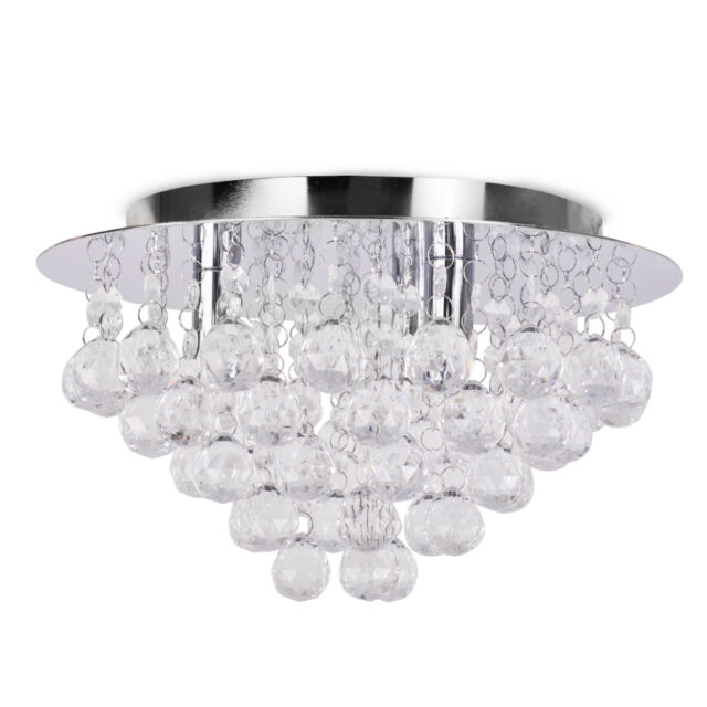 Chrome Flush Acrylic Crystal Ceiling Light Fitting Chandelier Lights Chandeliers