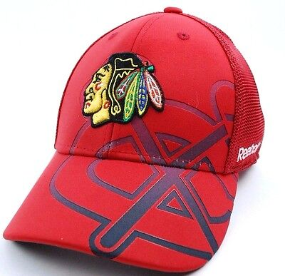 CHICAGO BLACKHAWKS  REEBOK TX75Z NHL SECOND SEASON FLEX FIT HOCKEY CAP/HAT