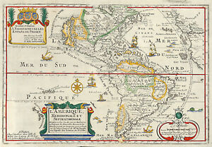 Details about 1717 South and North America Map Wall Art Poster Print Decor  Vintage Historic