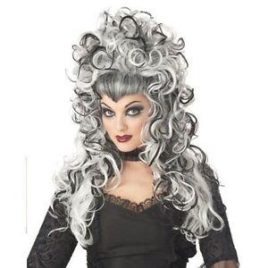 Perruque-Grise-Noire-Blanc-Poivre-sel-Wig-Wigs-Longue-Evilene-Gothique