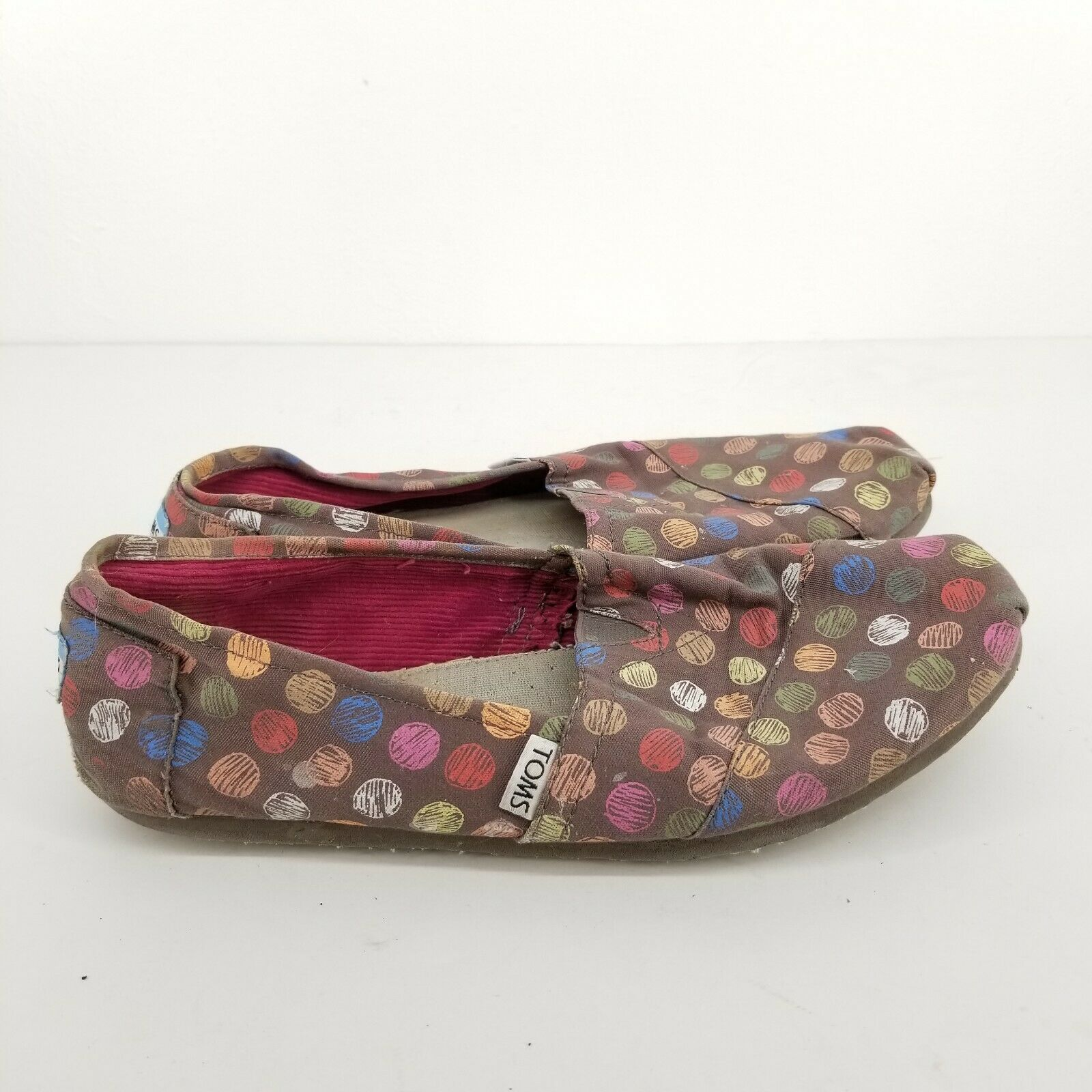 B52 Toms Womens Brown Paint Dots Canvas Casual Shoes Slip on Size 10