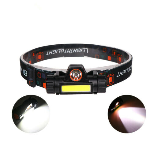 Super Bright COB+LED Headlight USB Rechargeable Headlamp Built-in Battery 2Modes