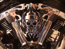 Yamaha Road Star Warrior Chrome Skull Fire Face Right side Cover