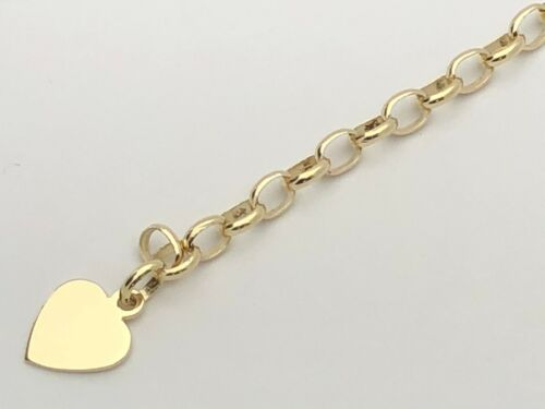 "14k Yellow Gold Heart Charm Bracelet Solid Rolo Link Engraveable 7.5/"" 17g"
